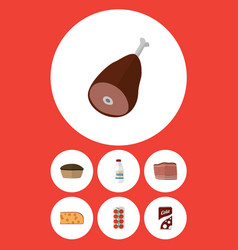 Flat icon food set of bottle beef tomato and vector