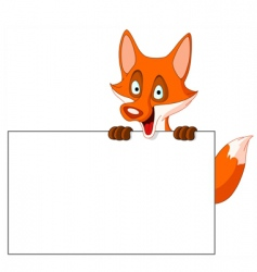 fox with sign vector image vector image