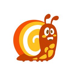 Funny cartoon snail colorful character vector