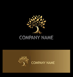 gold tree nature logo vector image