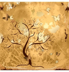 grunge background with tree vector image vector image