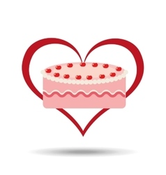 heart cartoon sweet cake strawberry icon design vector image