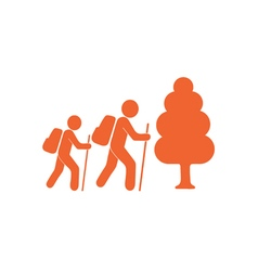 Hiking forest tourists icon vector