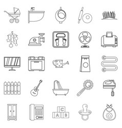 home appliances icons set outline style vector image