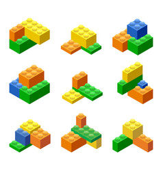 Isometric plastic building blocks and tiles vector