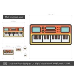 Midi keyboard line icon vector