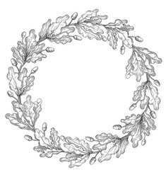 oak wreath frame vector image vector image
