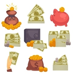 Paper money and money bag icon set vector