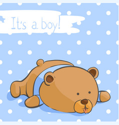 Postcard with a funny bear for a boy vector
