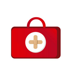 Red suitcase healthcare with pink hospital symbol vector