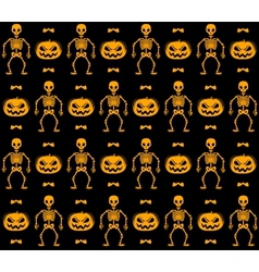 Seamless halloween pattern with skeletons pumpkins vector image