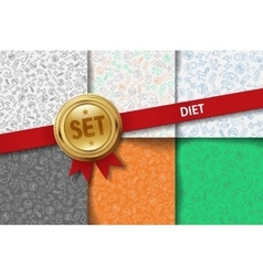 Set of diet backgrounds with doodle icons in vector