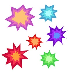 Star bursting boomcomic book explosion set hand vector