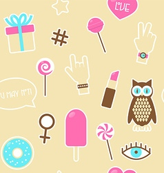 Sticker fashion seamless pattern vector image