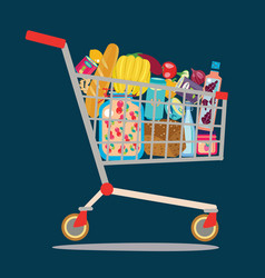 Supermarket shopping cart isolaited vector