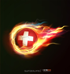 Switzerland flag with flying soccer ball on fire vector