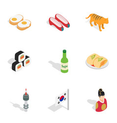 Symbols of south korea icons isometric 3d style vector