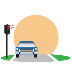 Traffic lights and car vector
