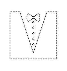 tuxedo with bow silhouette black dashed vector image