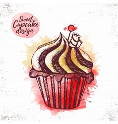 Watercolor sweet cupcake vector