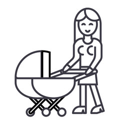 woman with baby stroller line icon sign vector image vector image