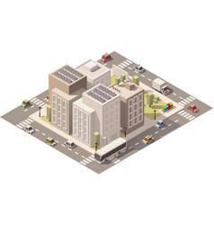 Isometric low poly town street with vector