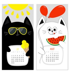 Cat calendar 2017 Cute funny cartoon white black vector image