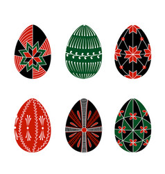 easter eggs decorated with ethnic ornaments vector image