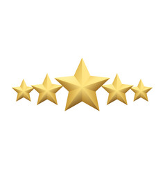 Set of realistic metallic golden star isolated on vector