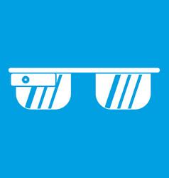 smart glasses icon white vector image