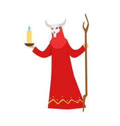 female shaman in a red dress and horned mask vector image