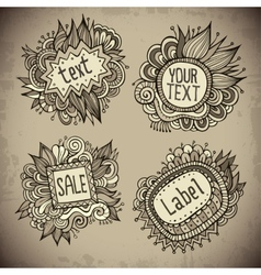 Set of vintage hand drawn nature floral labels vector image