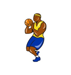 African-american basketball player shoot ball vector