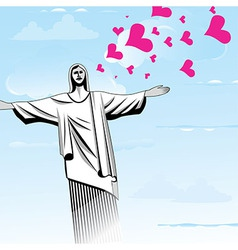 Brazil love God Christ the Redeemer statue vector image