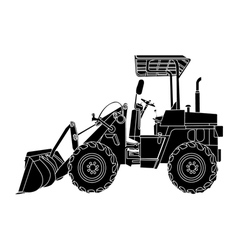 Silhouette of wheeled tractor vector