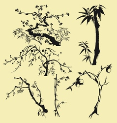 Tree branch oriental style ink painting vector