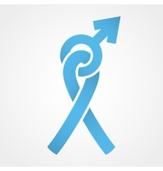 Light blue ribbon and mars symbol vector