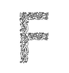 Letters floral f vector