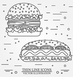 Thin line icon hot dog and burger for web design vector