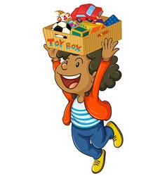 Boy holding box of toys on his head vector image