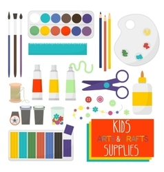 Kids artistic materials set art supplies vector
