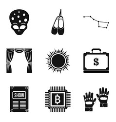 Acting icons set simple style vector