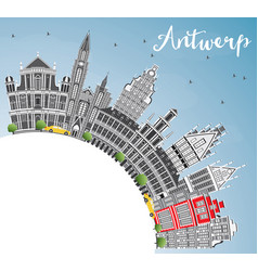 Antwerp skyline with gray buildings blue sky and vector