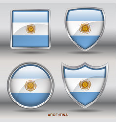 argentina flag in 4 shapes collection vector image vector image
