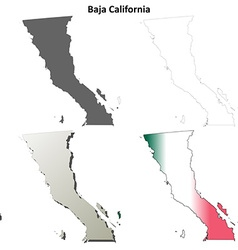 Baja california blank outline map set vector