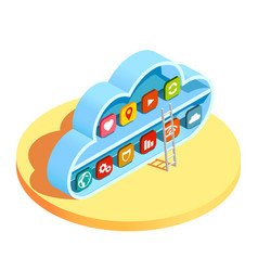 cloud computing apps isometric composition vector image vector image