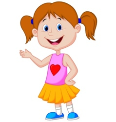 Cute girl cartoon presenting vector image vector image