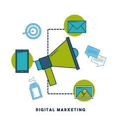 digital marketing cartoon vector image