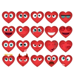 Emoticons or smiley hearts icons set vector image vector image