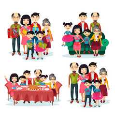 family portrait with parents and children on sofa vector image